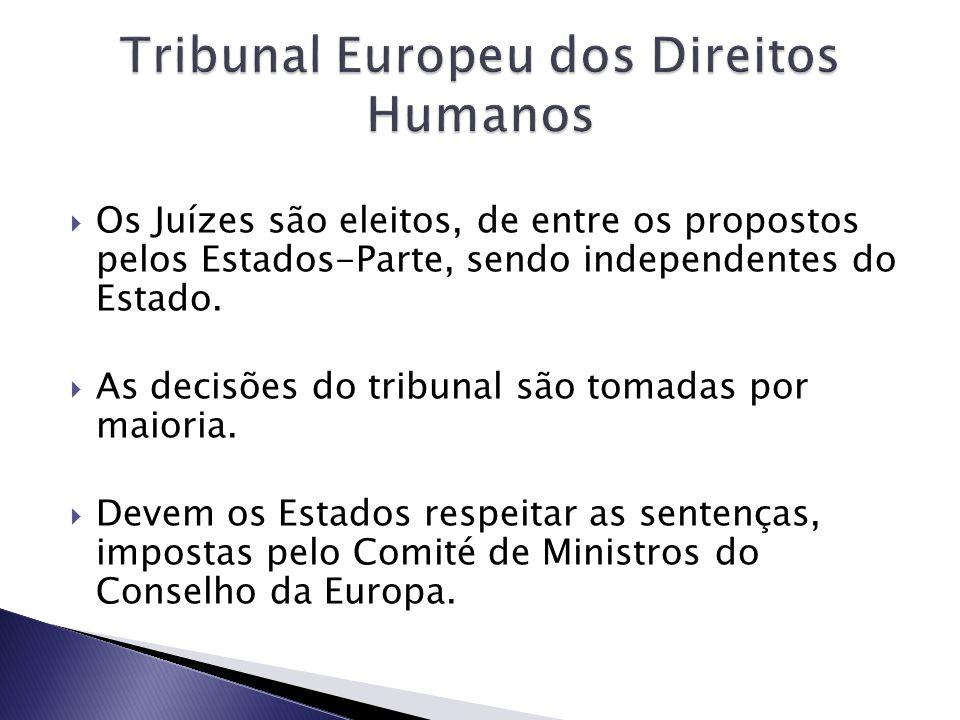 Os Juízes são eleitos, de entre os propostos pelos Estados-Parte, sendo independentes do Estado.