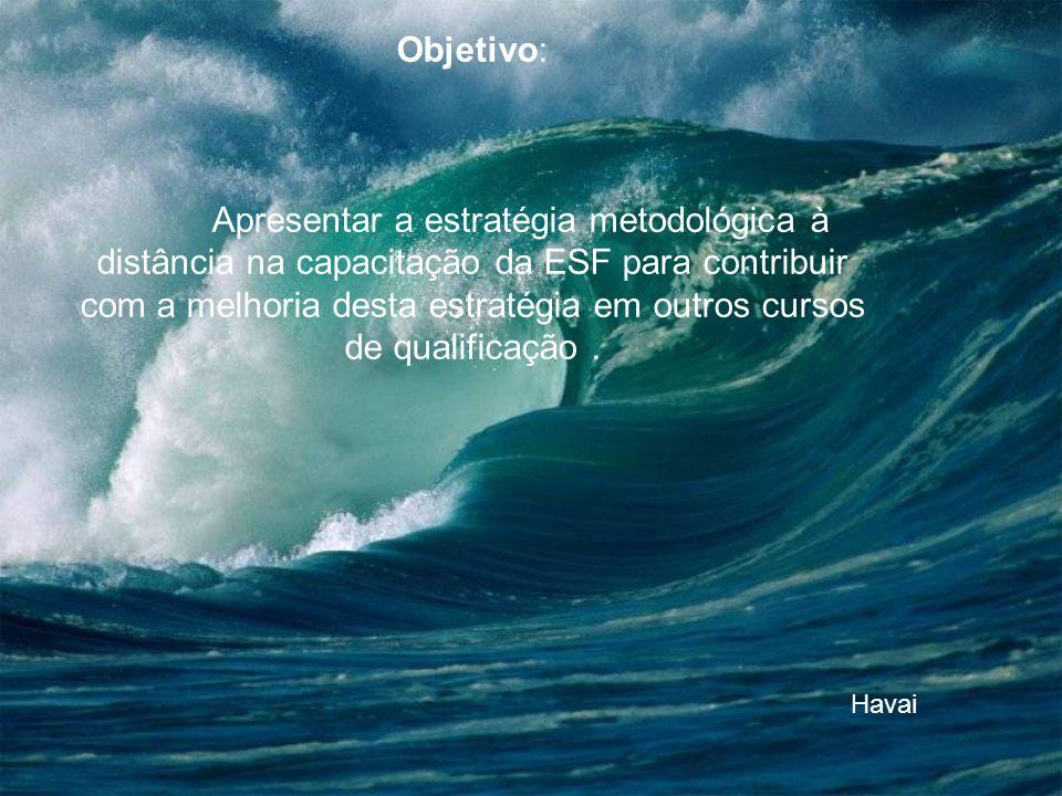 Objetivo: Apresentar a estratégia metodológica à distância na capacitação da ESF para contribuir com a melhoria desta estratégia em outros cursos de qualificação.