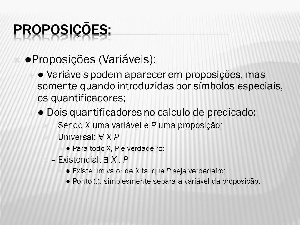 Proposições (Variáveis): Variáveis podem aparecer em proposições, mas somente quando introduzidas por símbolos especiais, os quantificadores; Dois qua