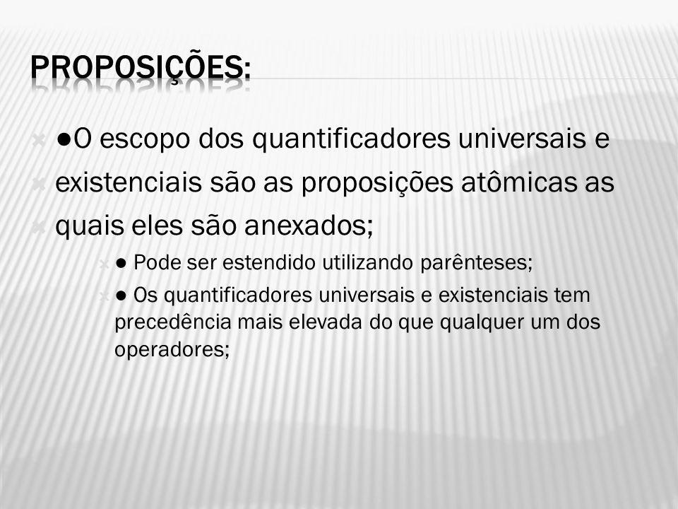 O escopo dos quantificadores universais e existenciais são as proposições atômicas as quais eles são anexados; Pode ser estendido utilizando parêntese
