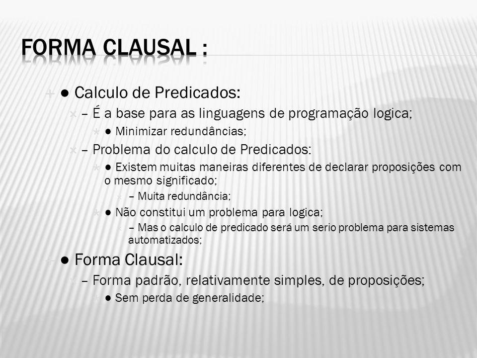 Calculo de Predicados: – É a base para as linguagens de programação logica; Minimizar redundâncias; – Problema do calculo de Predicados: Existem muita