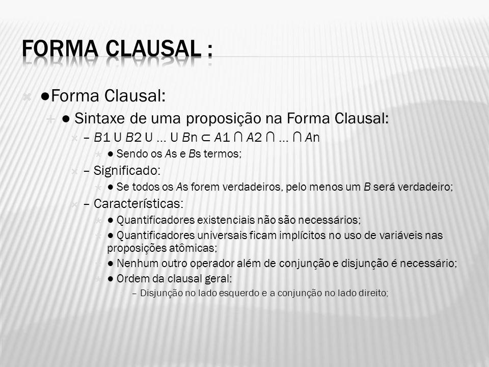 Forma Clausal: Sintaxe de uma proposição na Forma Clausal: – B1 U B2 U … U Bn A1 A2 … An Sendo os As e Bs termos; – Significado: Se todos os As forem