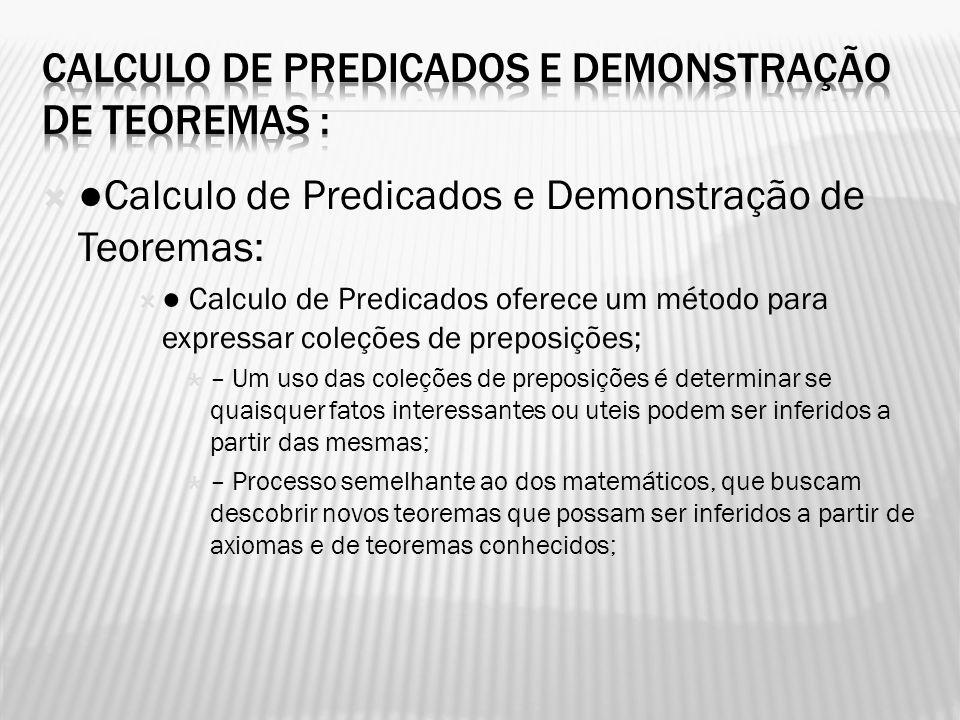 Calculo de Predicados e Demonstração de Teoremas: Calculo de Predicados oferece um método para expressar coleções de preposições; – Um uso das coleçõe