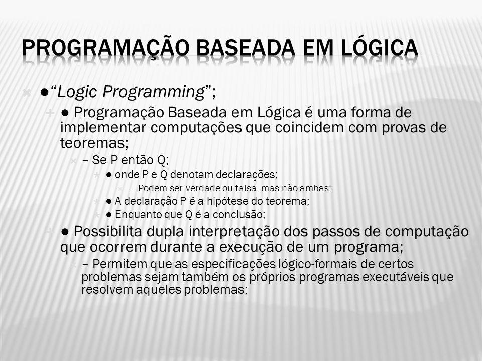 Logic Programming; Programação Baseada em Lógica é uma forma de implementar computações que coincidem com provas de teoremas; – Se P então Q; onde P e