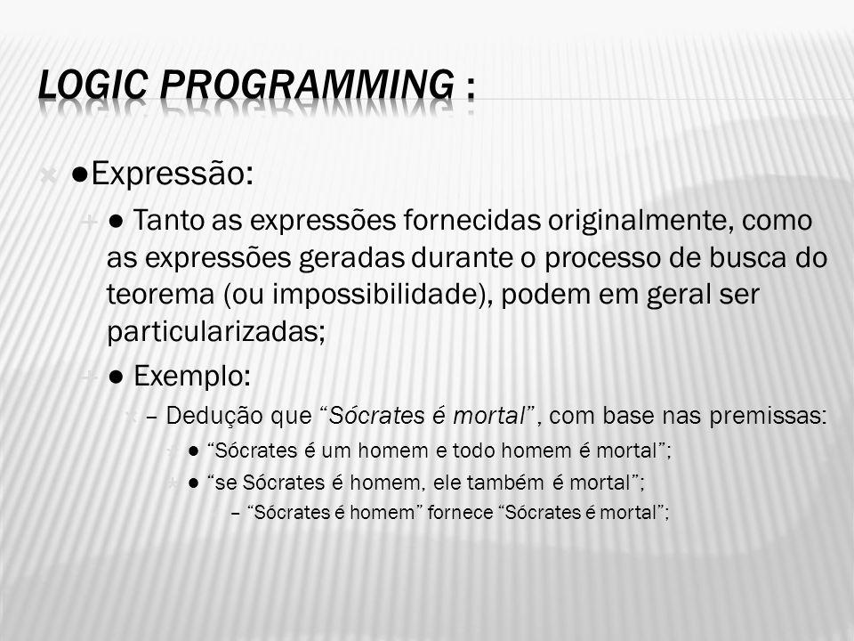 Expressão: Tanto as expressões fornecidas originalmente, como as expressões geradas durante o processo de busca do teorema (ou impossibilidade), podem