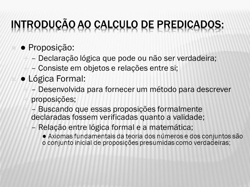 Proposição: – Declaração lógica que pode ou não ser verdadeira; – Consiste em objetos e relações entre si; Lógica Formal: – Desenvolvida para fornecer