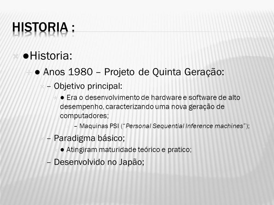 Historia: Anos 1980 – Projeto de Quinta Geração: – Objetivo principal: Era o desenvolvimento de hardware e software de alto desempenho, caracterizando