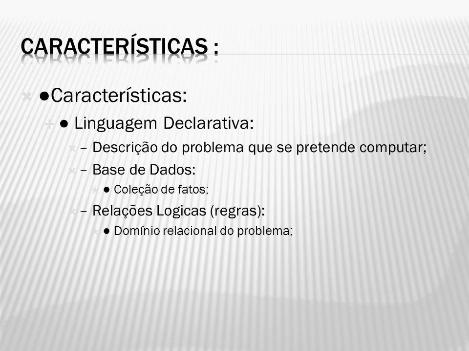 Características: Linguagem Declarativa: – Descrição do problema que se pretende computar; – Base de Dados: Coleção de fatos; – Relações Logicas (regra