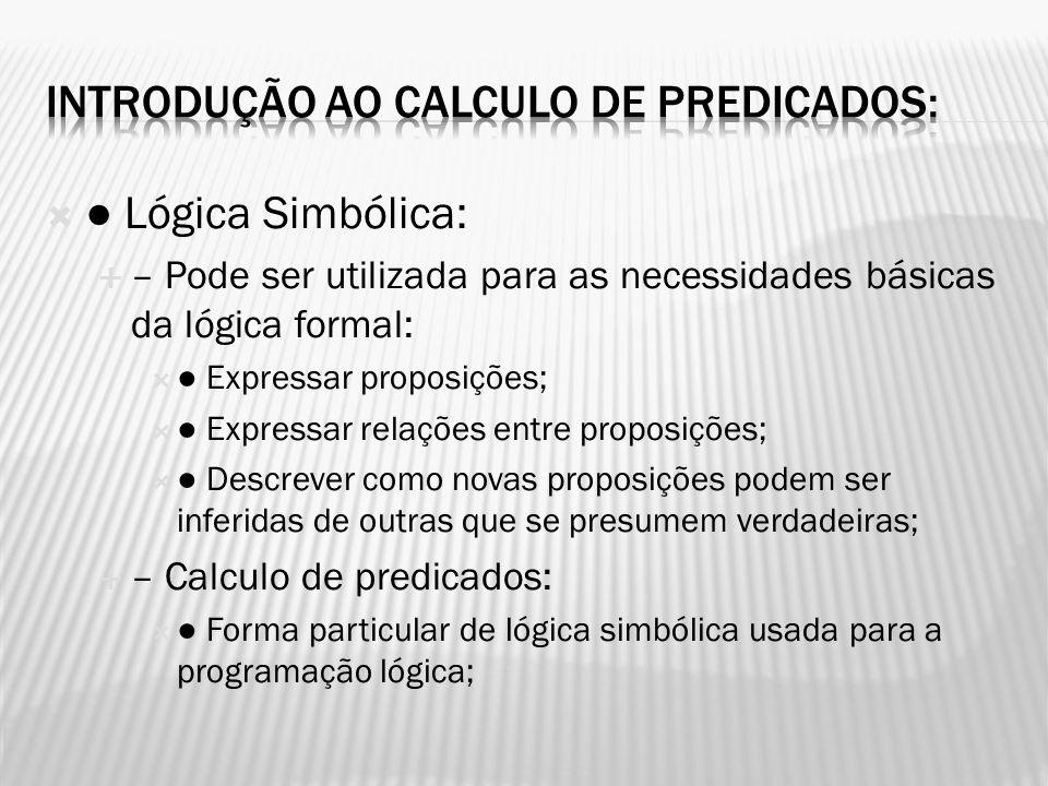 Lógica Simbólica: – Pode ser utilizada para as necessidades básicas da lógica formal: Expressar proposições; Expressar relações entre proposições; Des