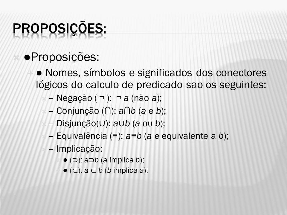 Proposições: Nomes, símbolos e significados dos conectores lógicos do calculo de predicado sao os seguintes: – Negação ( ): a (não a); – Conjunção ():