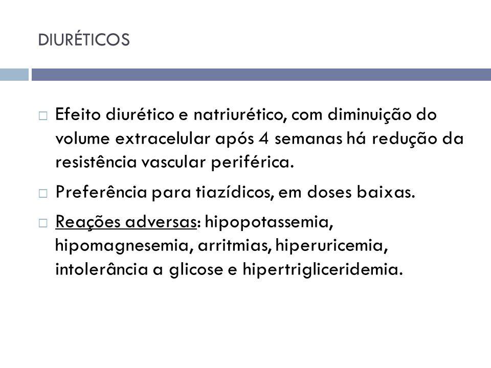 DIURÉTICOS Efeito diurético e natriurético, com diminuição do volume extracelular após 4 semanas há redução da resistência vascular periférica. Prefer
