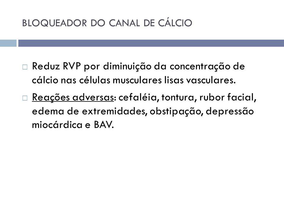 BLOQUEADOR DO CANAL DE CÁLCIO Reduz RVP por diminuição da concentração de cálcio nas células musculares lisas vasculares. Reações adversas: cefaléia,