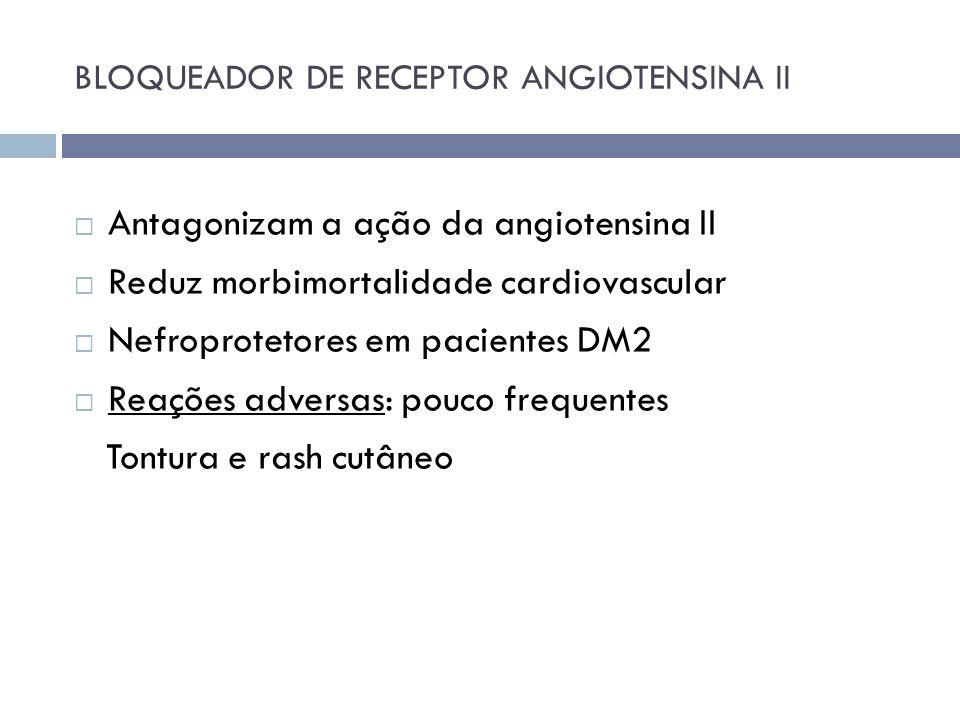 BLOQUEADOR DE RECEPTOR ANGIOTENSINA II Antagonizam a ação da angiotensina II Reduz morbimortalidade cardiovascular Nefroprotetores em pacientes DM2 Re