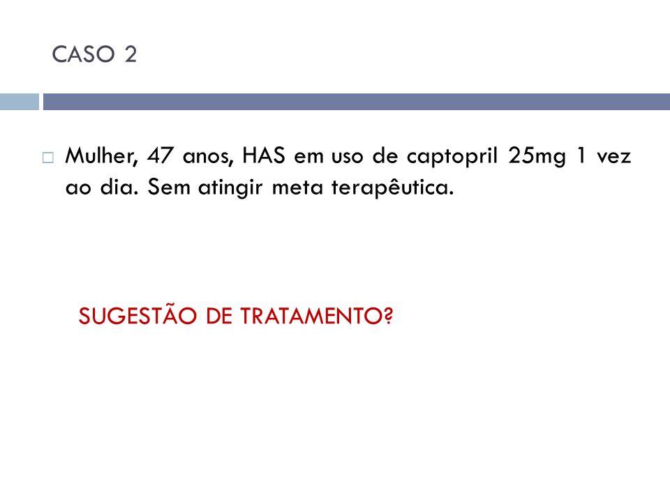 CASO 2 Mulher, 47 anos, HAS em uso de captopril 25mg 1 vez ao dia. Sem atingir meta terapêutica. SUGESTÃO DE TRATAMENTO?