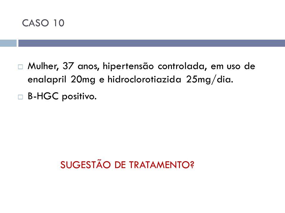 CASO 10 Mulher, 37 anos, hipertensão controlada, em uso de enalapril 20mg e hidroclorotiazida 25mg/dia. B-HGC positivo. SUGESTÃO DE TRATAMENTO?