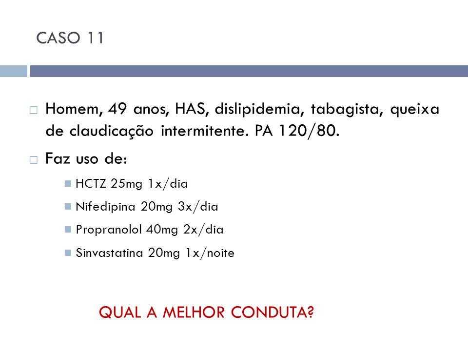 CASO 11 Homem, 49 anos, HAS, dislipidemia, tabagista, queixa de claudicação intermitente. PA 120/80. Faz uso de: HCTZ 25mg 1x/dia Nifedipina 20mg 3x/d