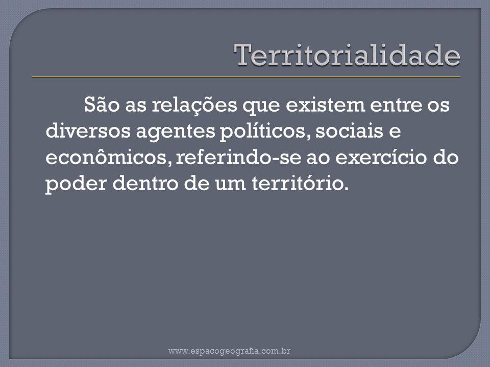 São as relações que existem entre os diversos agentes políticos, sociais e econômicos, referindo-se ao exercício do poder dentro de um território.