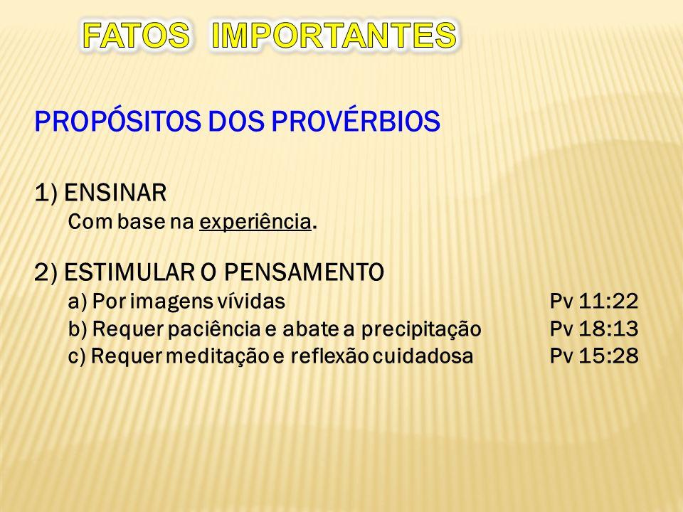 PROPÓSITOS DOS PROVÉRBIOS 1) ENSINAR Com base na experiência.