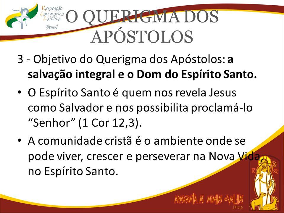 O QUERIGMA DOS APÓSTOLOS 3 - Objetivo do Querigma dos Apóstolos: a salvação integral e o Dom do Espírito Santo. O Espírito Santo é quem nos revela Jes