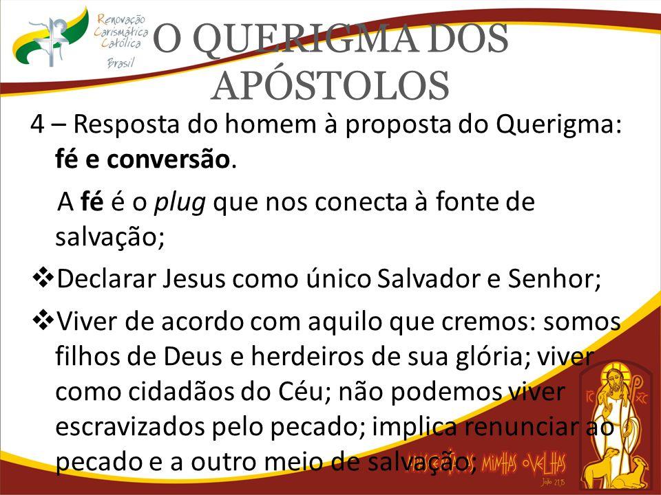O QUERIGMA DOS APÓSTOLOS 4 – Resposta do homem à proposta do Querigma: fé e conversão. A fé é o plug que nos conecta à fonte de salvação; Declarar Jes