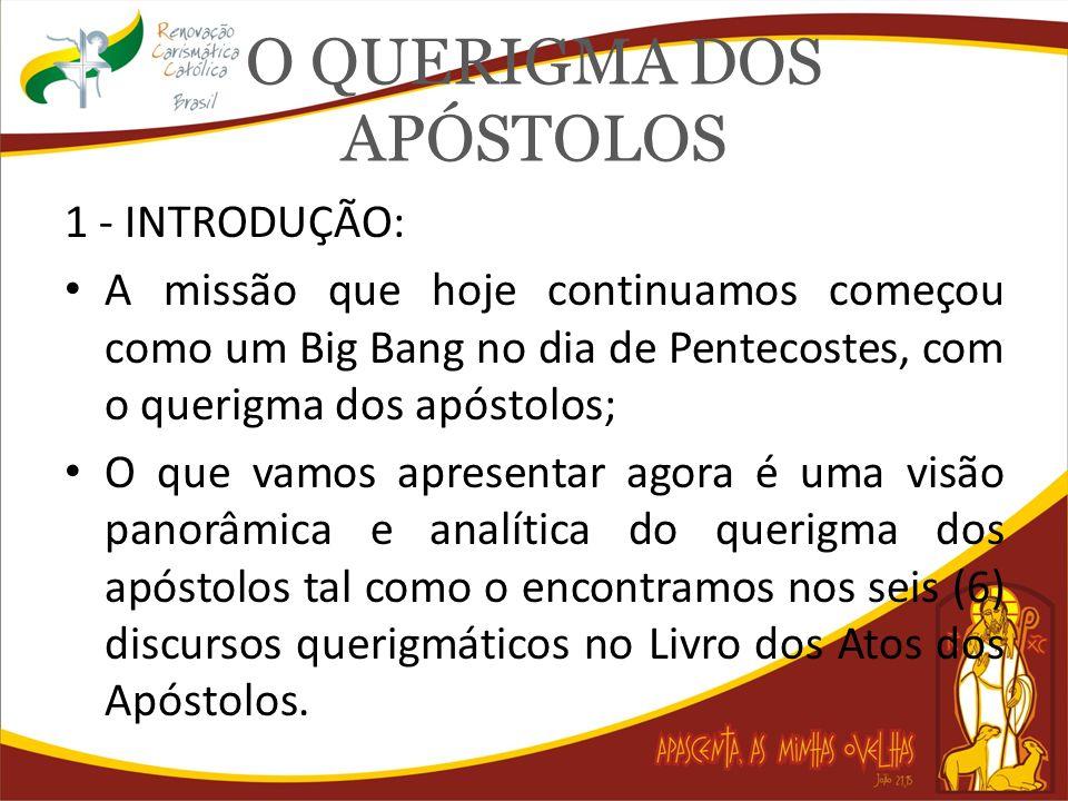 O QUERIGMA DOS APÓSTOLOS 1 - INTRODUÇÃO: Os apóstolos, sob o profundo impacto da morte e ressurreição de Jesus, fato dos quais foram testemunhas oculares, e com o poder do Espírito Santo enviado no dia de Pentecostes, cumpriram fielmente essa missão.