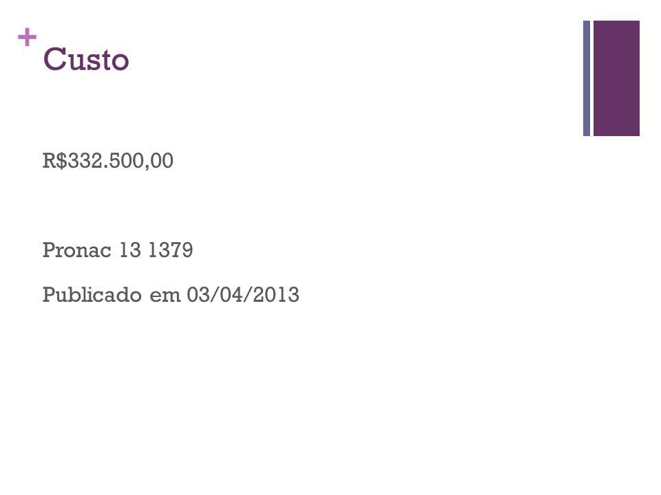 + Custo R$332.500,00 Pronac 13 1379 Publicado em 03/04/2013