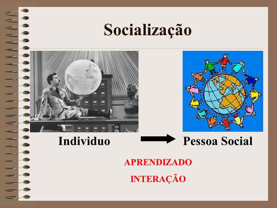 Socialização IndividuoPessoa Social APRENDIZADO INTERAÇÃO