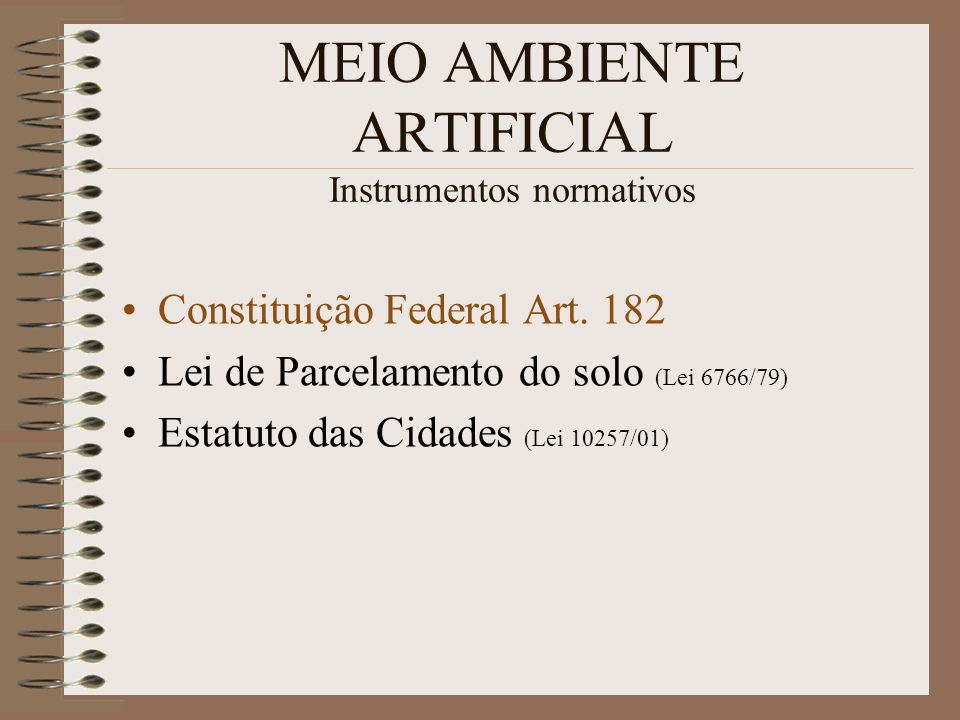 MEIO AMBIENTE ARTIFICIAL Instrumentos normativos Constituição Federal Art. 182 Lei de Parcelamento do solo (Lei 6766/79) Estatuto das Cidades (Lei 102
