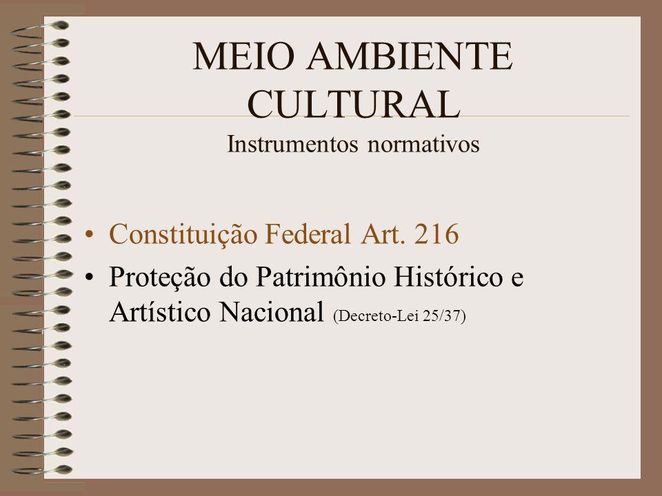MEIO AMBIENTE CULTURAL Instrumentos normativos Constituição Federal Art. 216 Proteção do Patrimônio Histórico e Artístico Nacional (Decreto-Lei 25/37)