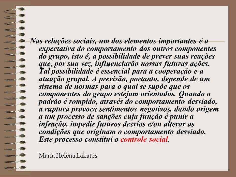Nas relações sociais, um dos elementos importantes é a expectativa do comportamento dos outros componentes do grupo, isto é, a possibilidade de prever