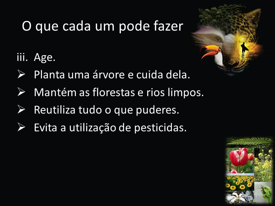 O que cada um pode fazer iii.Age. Planta uma árvore e cuida dela. Mantém as florestas e rios limpos. Reutiliza tudo o que puderes. Evita a utilização