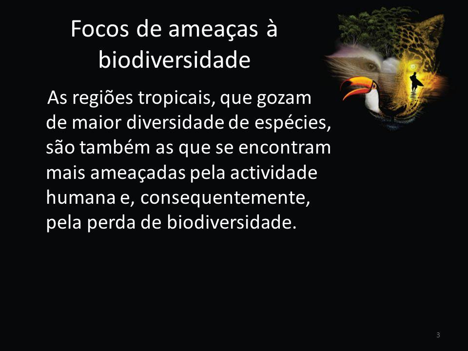 Focos de ameaças à biodiversidade As regiões tropicais, que gozam de maior diversidade de espécies, são também as que se encontram mais ameaçadas pela