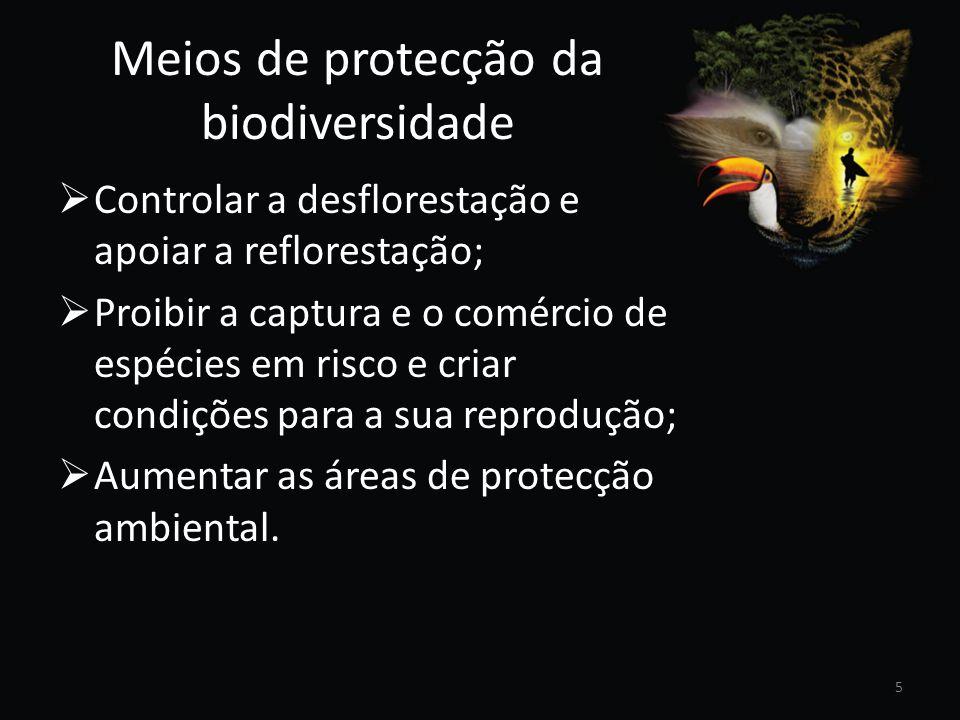 Meios de protecção da biodiversidade Controlar a desflorestação e apoiar a reflorestação; Proibir a captura e o comércio de espécies em risco e criar