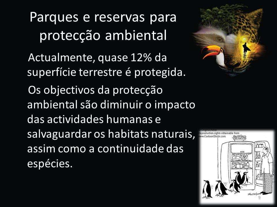 Parques e reservas para protecção ambiental Actualmente, quase 12% da superfície terrestre é protegida. Os objectivos da protecção ambiental são dimin