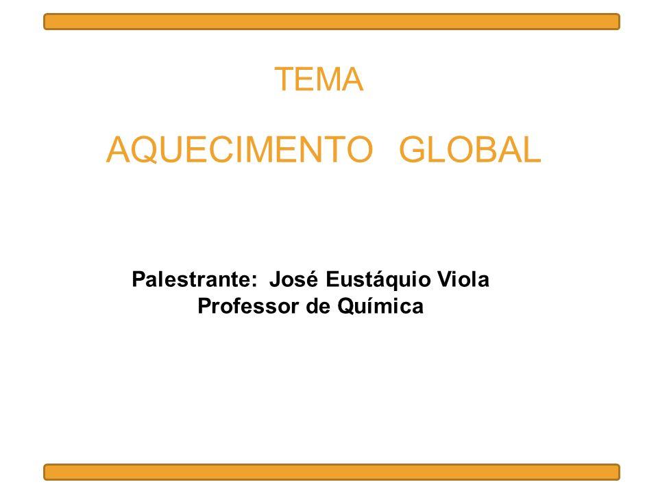 AQUECIMENTO GLOBAL Palestrante: José Eustáquio Viola Professor de Química TEMA
