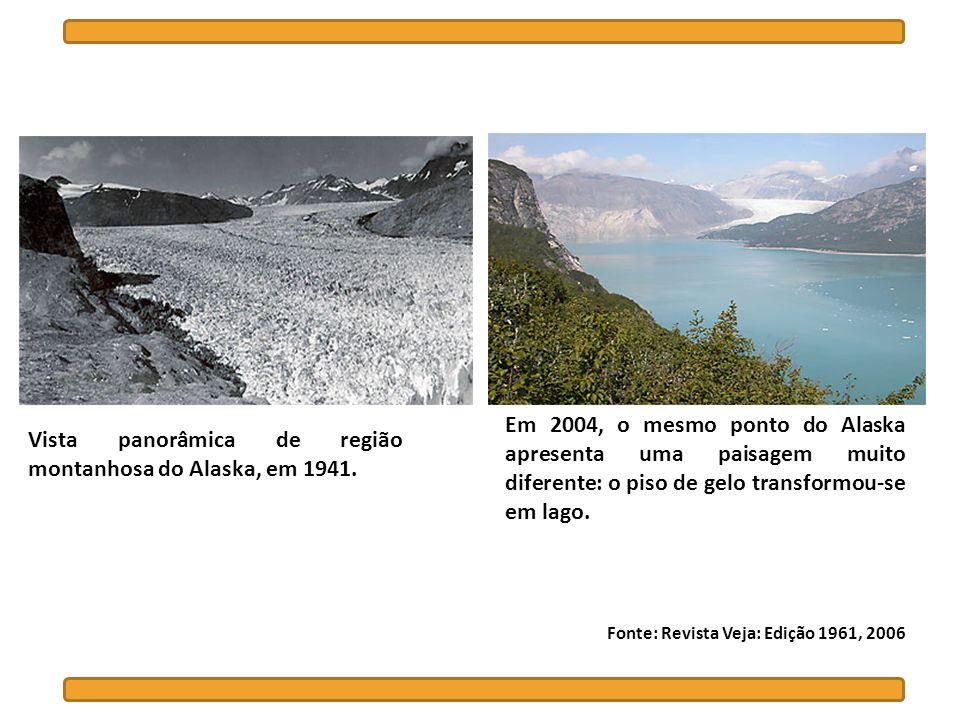 Vista panorâmica de região montanhosa do Alaska, em 1941. Em 2004, o mesmo ponto do Alaska apresenta uma paisagem muito diferente: o piso de gelo tran