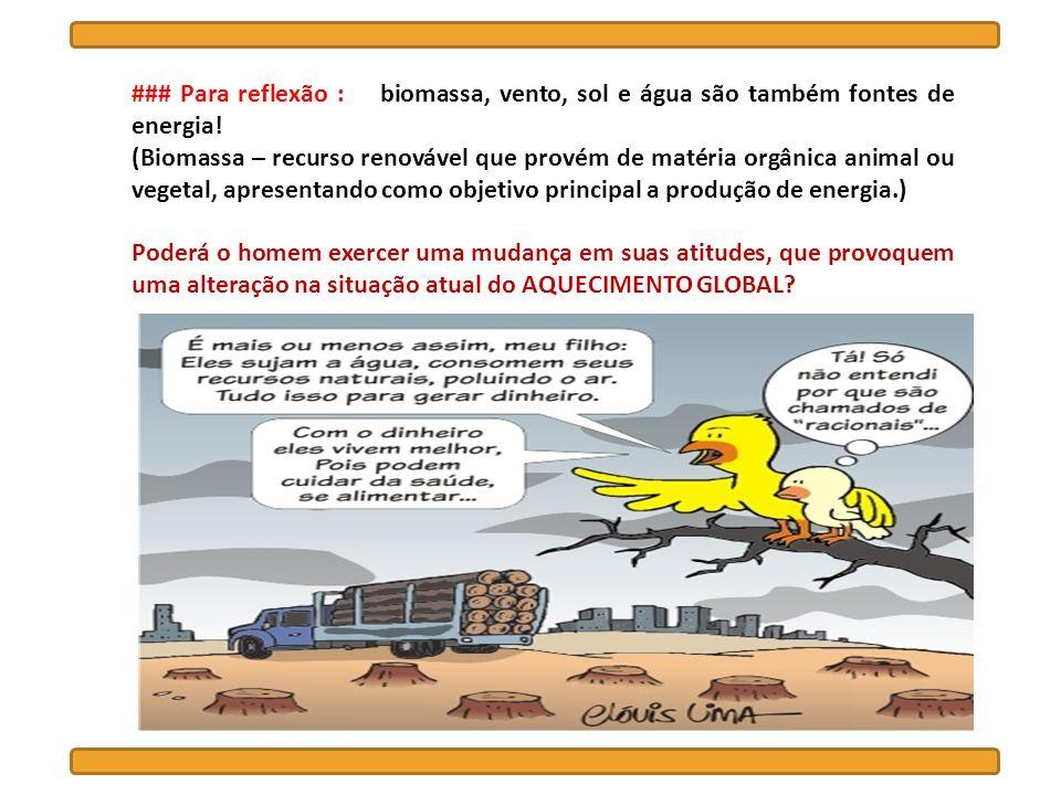 ### Para reflexão : biomassa, vento, sol e água são também fontes de energia! (Biomassa – recurso renovável que provém de matéria orgânica animal ou v