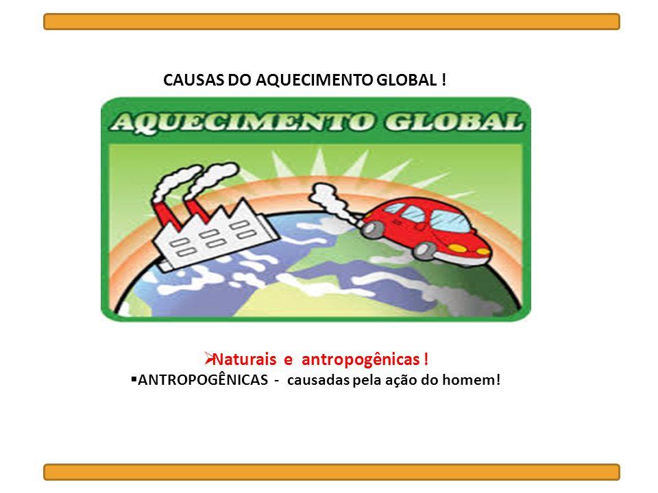 CAUSAS DO AQUECIMENTO GLOBAL ! Naturais e antropogênicas ! ANTROPOGÊNICAS - causadas pela ação do homem!