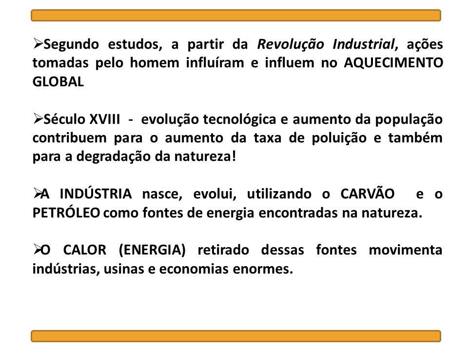 Segundo estudos, a partir da Revolução Industrial, ações tomadas pelo homem influíram e influem no AQUECIMENTO GLOBAL Século XVIII - evolução tecnológ
