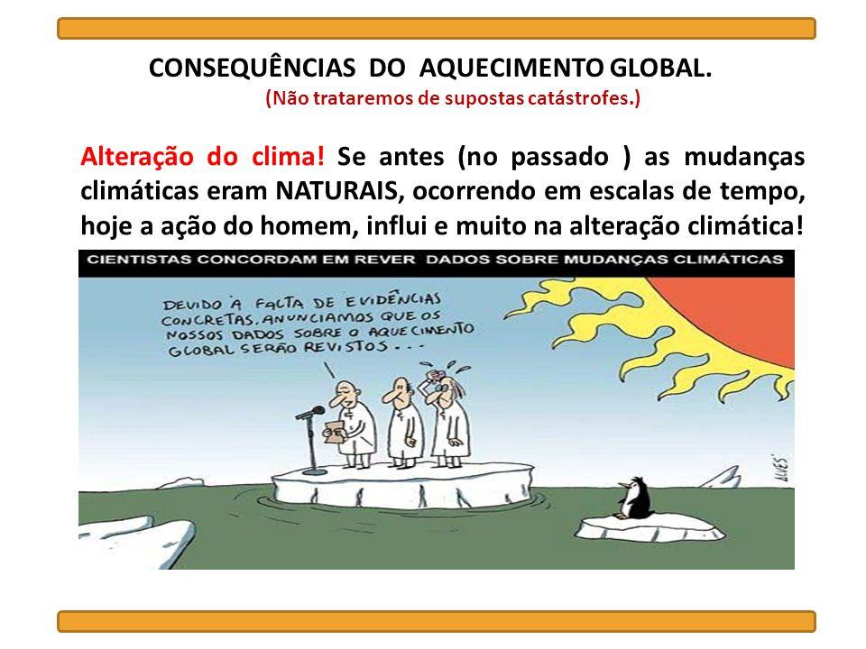 CONSEQUÊNCIAS DO AQUECIMENTO GLOBAL. (Não trataremos de supostas catástrofes.) Alteração do clima! Se antes (no passado ) as mudanças climáticas eram