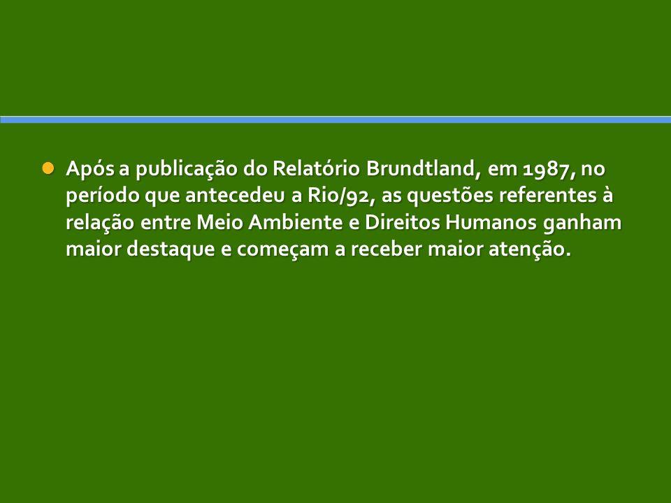 Após a publicação do Relatório Brundtland, em 1987, no período que antecedeu a Rio/92, as questões referentes à relação entre Meio Ambiente e Direitos Humanos ganham maior destaque e começam a receber maior atenção.