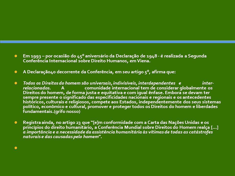 Em 1993 – por ocasião do 45° aniversário da Declaração de 1948 - é realizada a Segunda Conferência Internacional sobre Direito Humanos, em Viena. Em 1