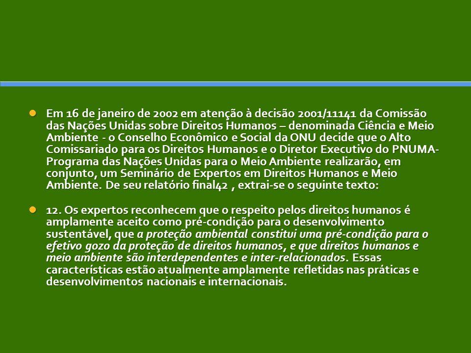 Em 16 de janeiro de 2002 em atenção à decisão 2001/11141 da Comissão das Nações Unidas sobre Direitos Humanos – denominada Ciência e Meio Ambiente - o Conselho Econômico e Social da ONU decide que o Alto Comissariado para os Direitos Humanos e o Diretor Executivo do PNUMA- Programa das Nações Unidas para o Meio Ambiente realizarão, em conjunto, um Seminário de Expertos em Direitos Humanos e Meio Ambiente.