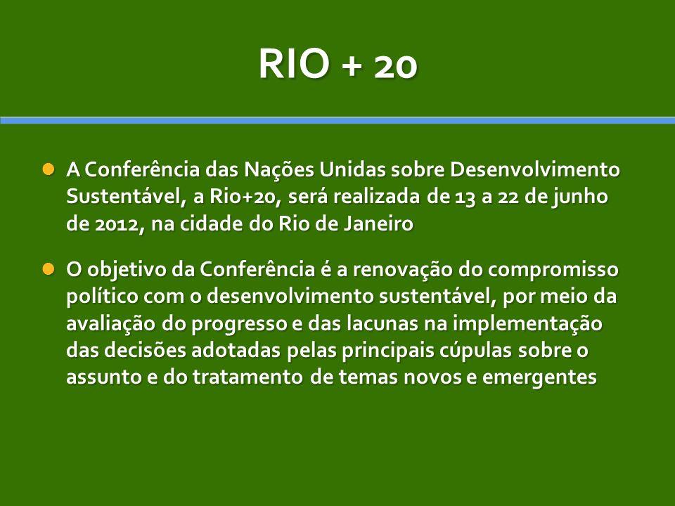 RIO + 20 A Conferência das Nações Unidas sobre Desenvolvimento Sustentável, a Rio+20, será realizada de 13 a 22 de junho de 2012, na cidade do Rio de Janeiro A Conferência das Nações Unidas sobre Desenvolvimento Sustentável, a Rio+20, será realizada de 13 a 22 de junho de 2012, na cidade do Rio de Janeiro O objetivo da Conferência é a renovação do compromisso político com o desenvolvimento sustentável, por meio da avaliação do progresso e das lacunas na implementação das decisões adotadas pelas principais cúpulas sobre o assunto e do tratamento de temas novos e emergentes O objetivo da Conferência é a renovação do compromisso político com o desenvolvimento sustentável, por meio da avaliação do progresso e das lacunas na implementação das decisões adotadas pelas principais cúpulas sobre o assunto e do tratamento de temas novos e emergentes
