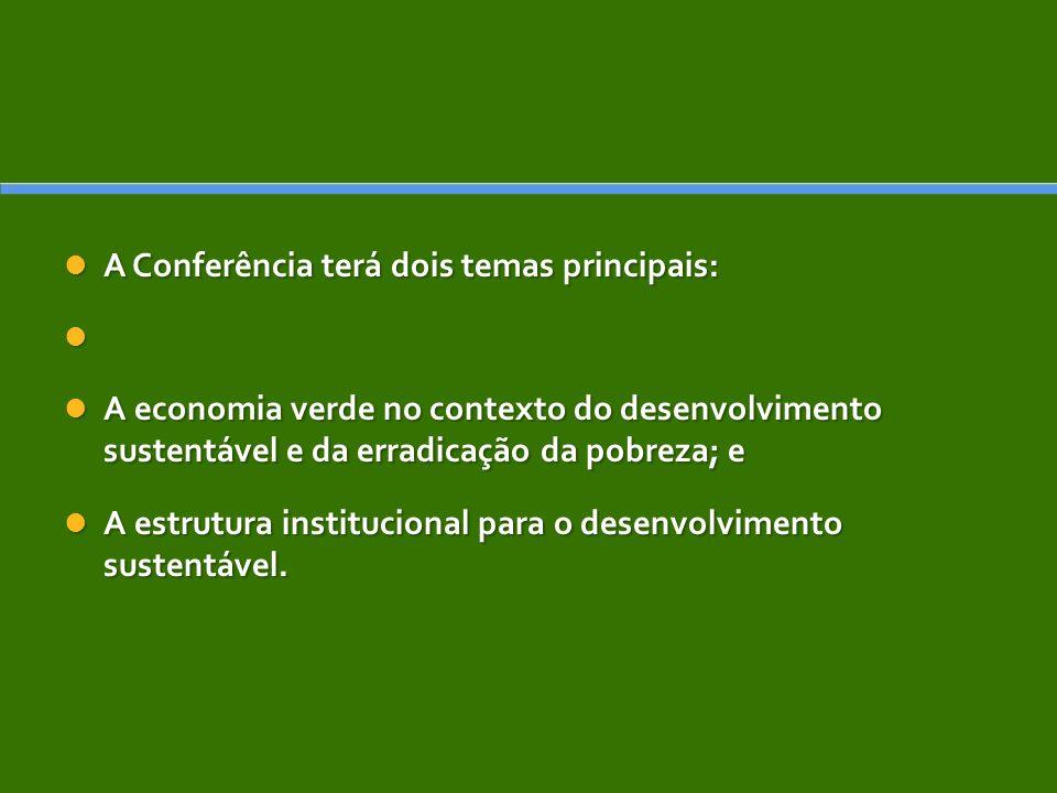 A Conferência terá dois temas principais: A Conferência terá dois temas principais: A economia verde no contexto do desenvolvimento sustentável e da erradicação da pobreza; e A economia verde no contexto do desenvolvimento sustentável e da erradicação da pobreza; e A estrutura institucional para o desenvolvimento sustentável.