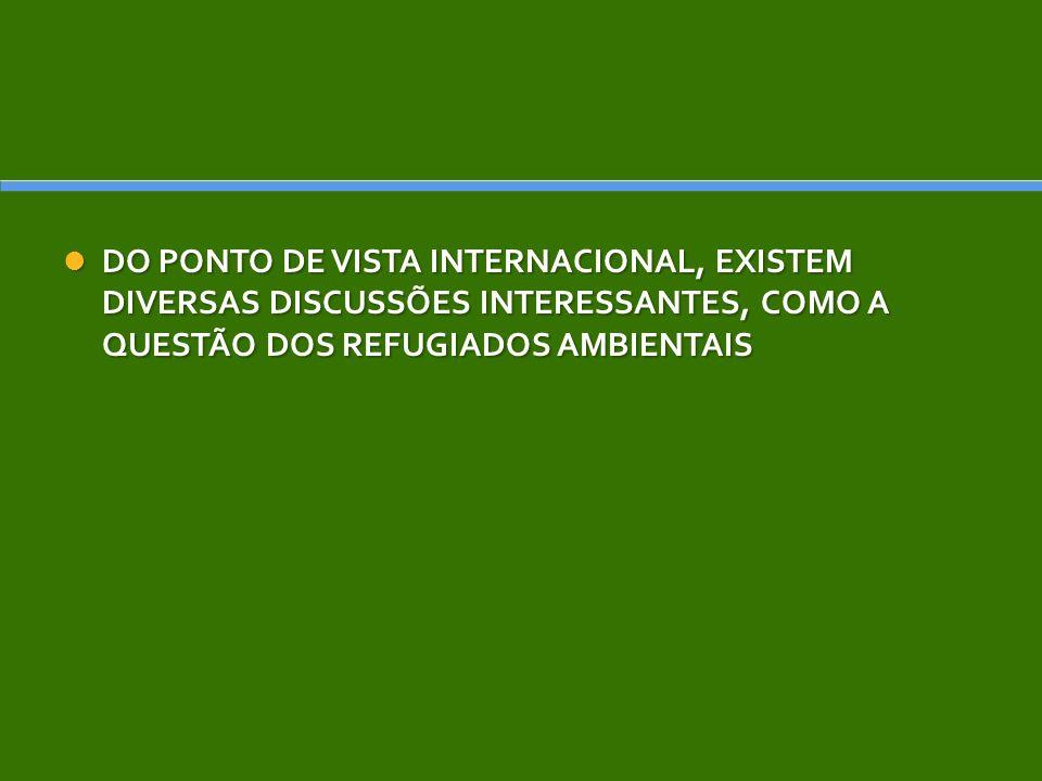 DO PONTO DE VISTA INTERNACIONAL, EXISTEM DIVERSAS DISCUSSÕES INTERESSANTES, COMO A QUESTÃO DOS REFUGIADOS AMBIENTAIS DO PONTO DE VISTA INTERNACIONAL,
