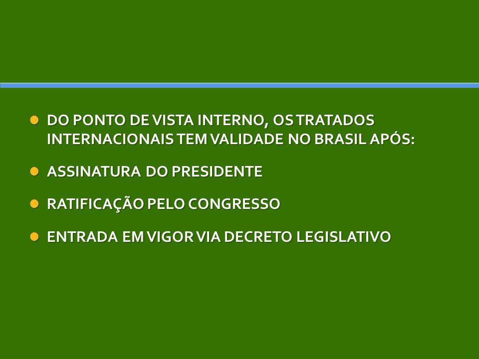 DO PONTO DE VISTA INTERNO, OS TRATADOS INTERNACIONAIS TEM VALIDADE NO BRASIL APÓS: DO PONTO DE VISTA INTERNO, OS TRATADOS INTERNACIONAIS TEM VALIDADE