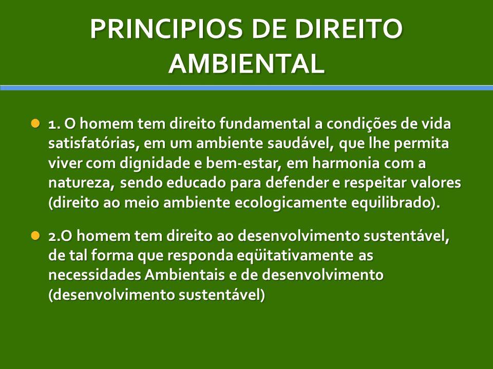 PRINCIPIOS DE DIREITO AMBIENTAL 1. O homem tem direito fundamental a condições de vida satisfatórias, em um ambiente saudável, que lhe permita viver c