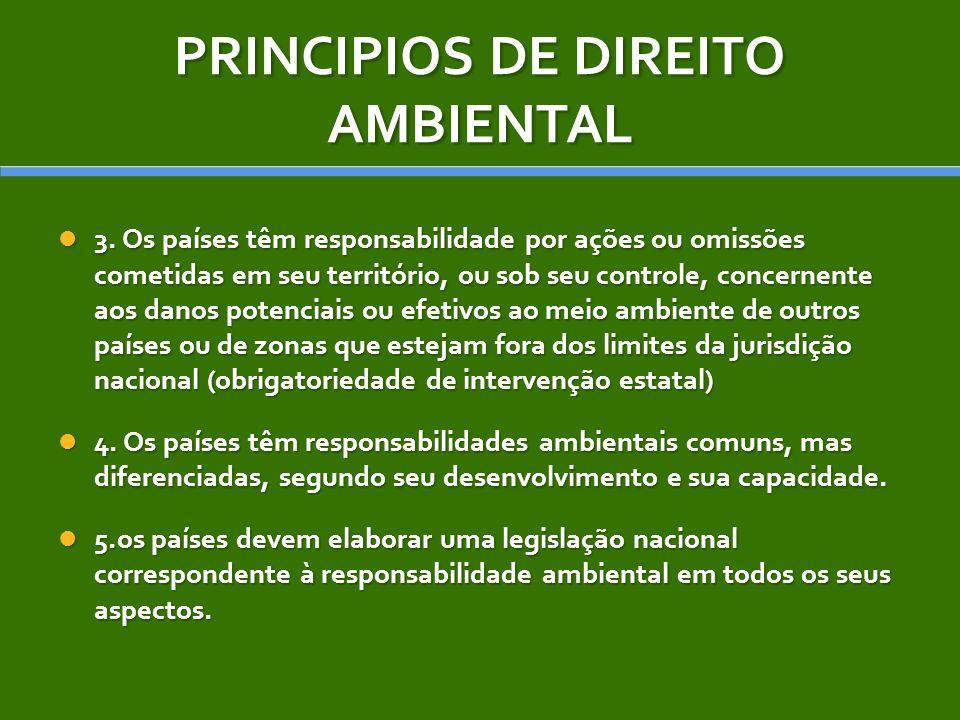 PRINCIPIOS DE DIREITO AMBIENTAL 3. Os países têm responsabilidade por ações ou omissões cometidas em seu território, ou sob seu controle, concernente