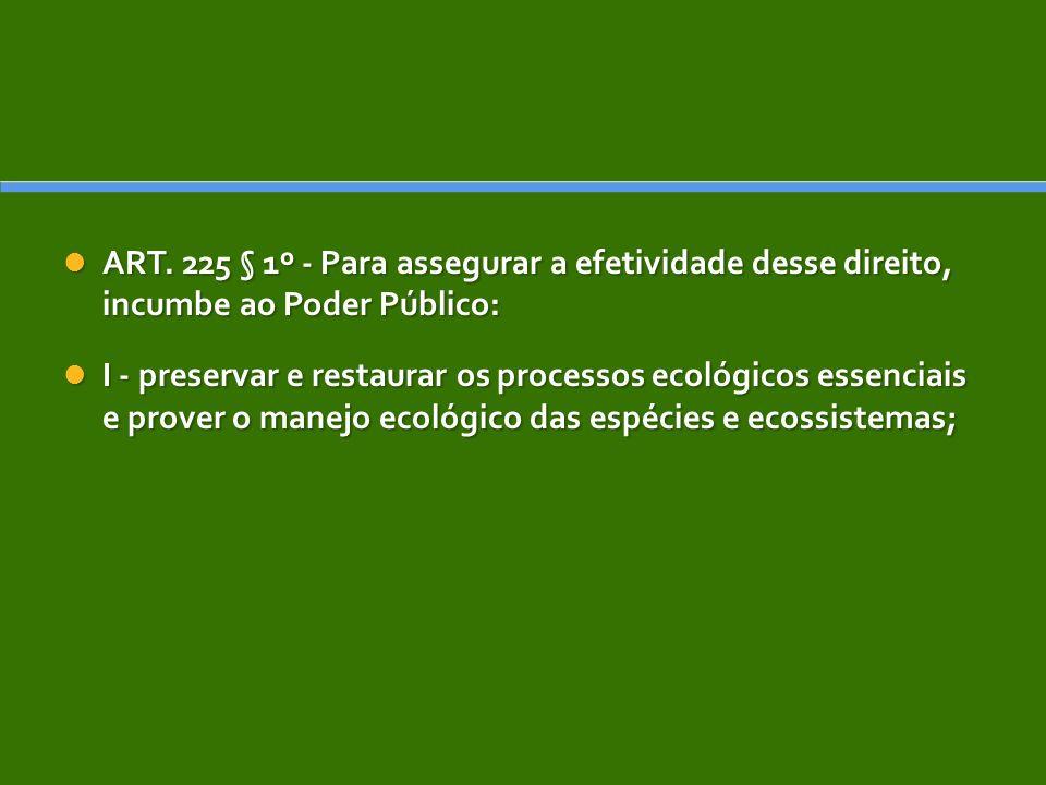 ART. 225 § 1º - Para assegurar a efetividade desse direito, incumbe ao Poder Público: ART. 225 § 1º - Para assegurar a efetividade desse direito, incu